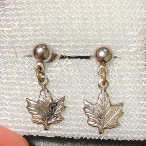Diamond Etched Maple Leaf Post Earrings